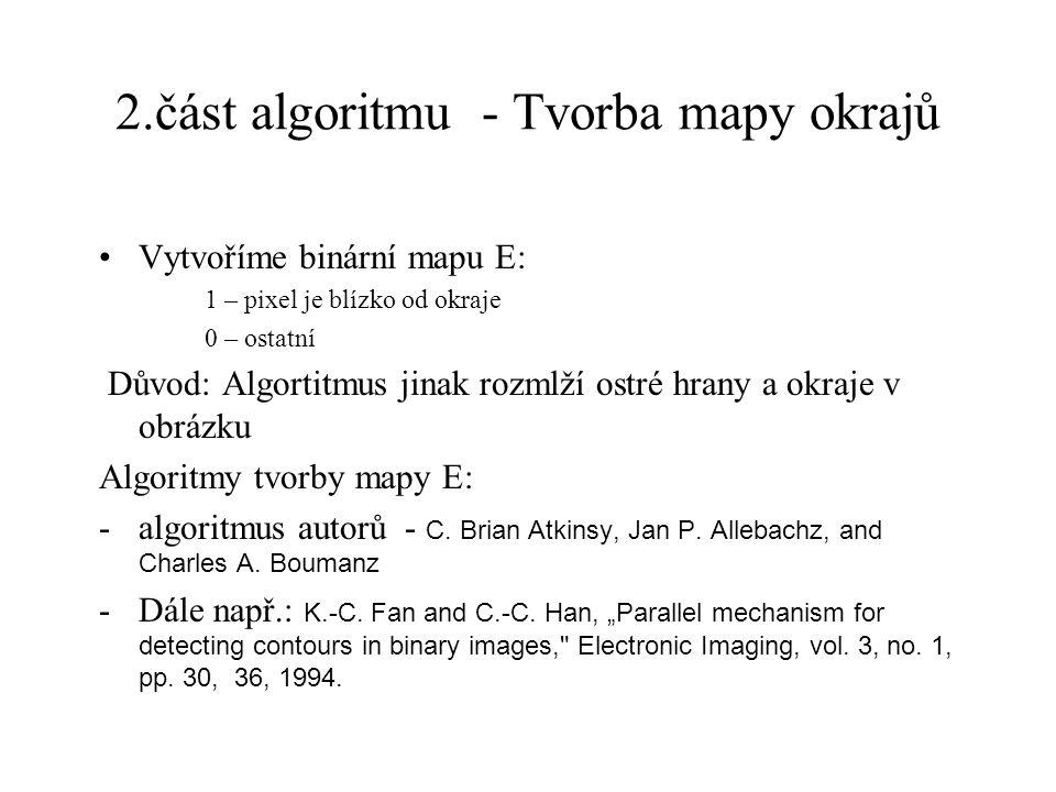 2.část algoritmu - Tvorba mapy okrajů Vytvoříme binární mapu E: 1 – pixel je blízko od okraje 0 – ostatní Důvod: Algortitmus jinak rozmlží ostré hrany a okraje v obrázku Algoritmy tvorby mapy E: -algoritmus autorů - C.