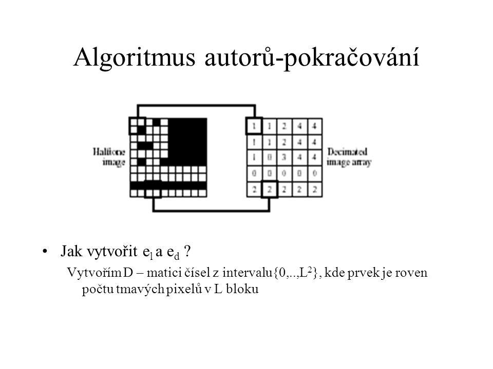 Algoritmus autorů-pokračování Jak vytvořit e l a e d .