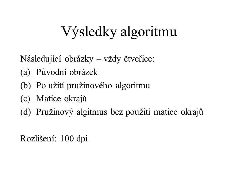 Výsledky algoritmu Následující obrázky – vždy čtveřice: (a)Původní obrázek (b)Po užití pružinového algoritmu (c)Matice okrajů (d)Pružinový algitmus bez použití matice okrajů Rozlišení: 100 dpi