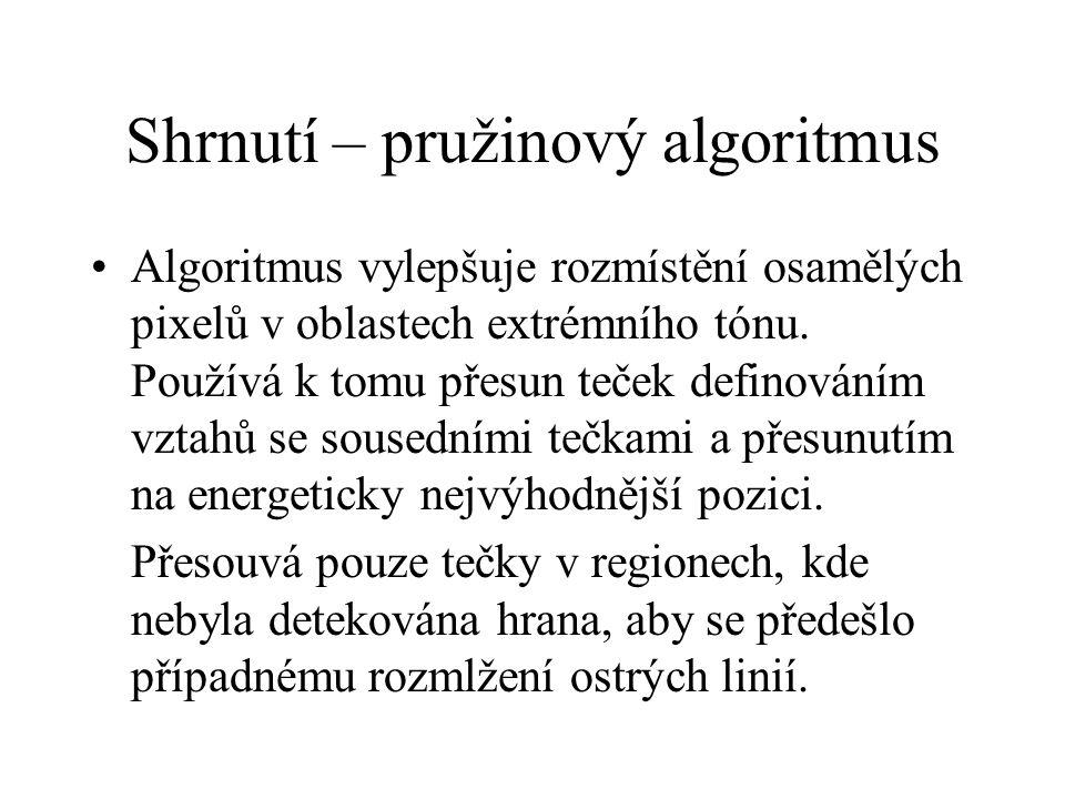 Shrnutí – pružinový algoritmus Algoritmus vylepšuje rozmístění osamělých pixelů v oblastech extrémního tónu.