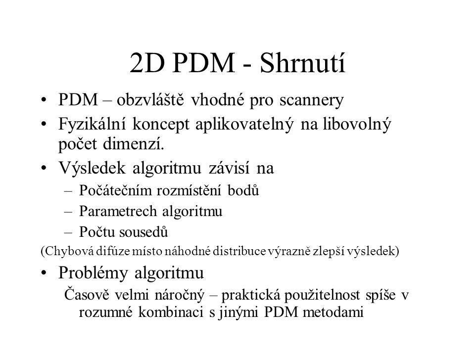 2D PDM - Shrnutí PDM – obzvláště vhodné pro scannery Fyzikální koncept aplikovatelný na libovolný počet dimenzí.