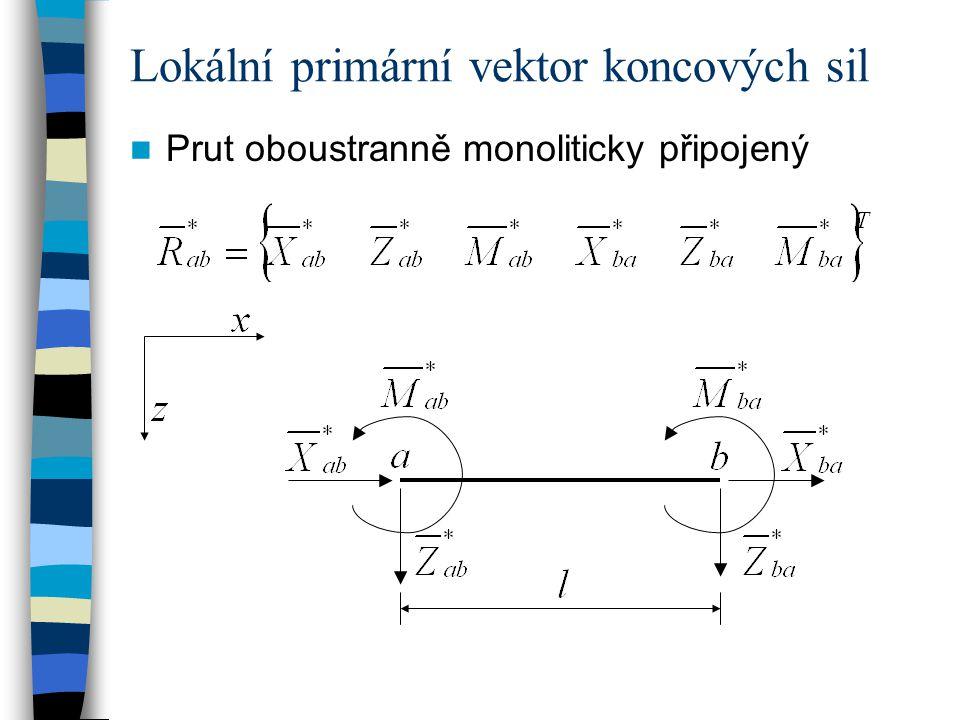Lokální primární vektor koncových sil Prut oboustranně monoliticky připojený