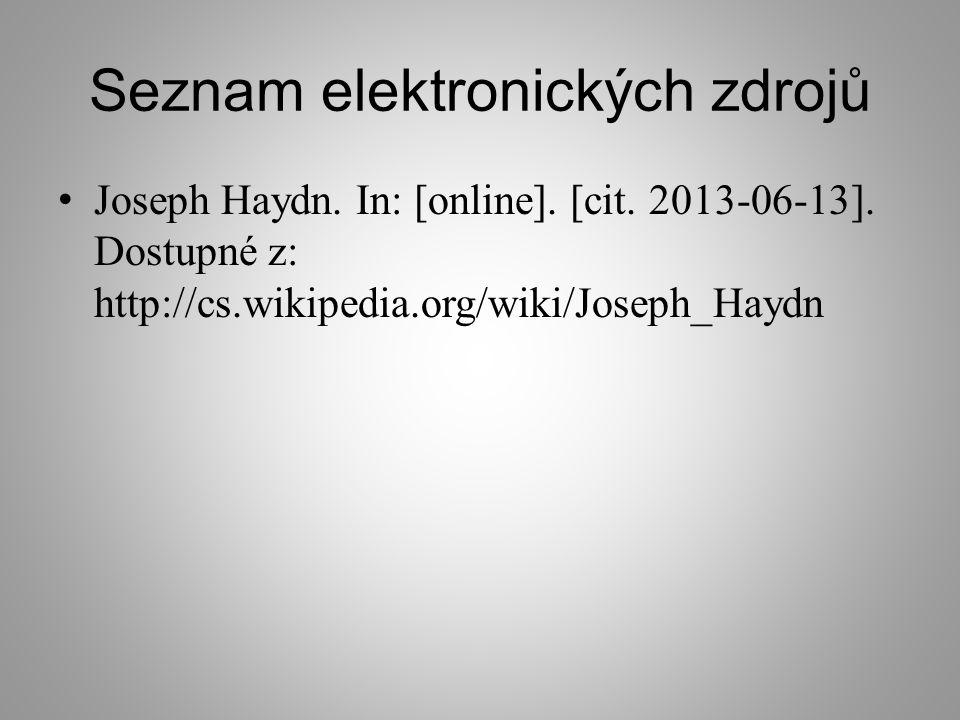 Seznam elektronických zdrojů Joseph Haydn.In: [online].