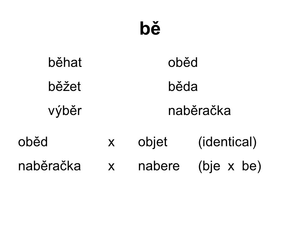 bě běhatoběd běžetběda výběrnaběračka obědxobjet (identical) naběračkaxnabere(bje x be)
