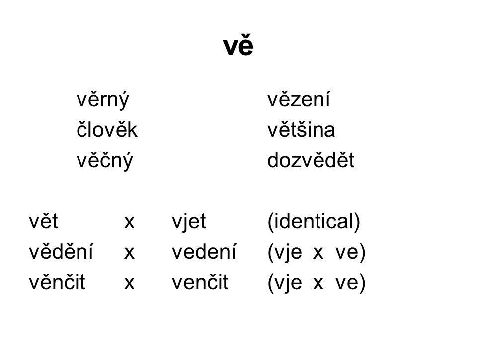 vě věrnývězení člověkvětšina věčnýdozvědět větxvjet(identical) věděníxvedení(vje x ve) věnčitxvenčit(vje x ve)