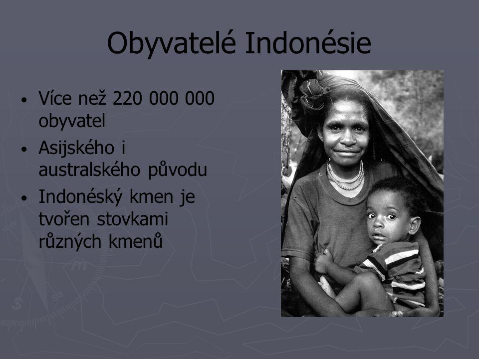 Obyvatelé Indonésie Více než 220 000 000 obyvatel Asijského i australského původu Indonéský kmen je tvořen stovkami různých kmenů