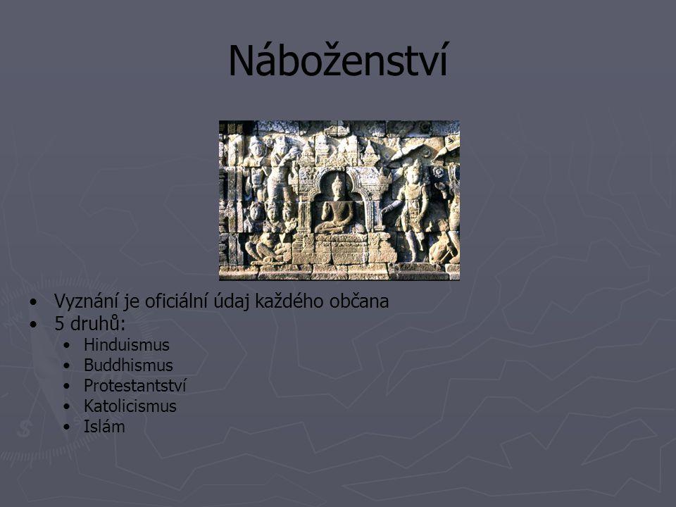 Náboženství Vyznání je oficiální údaj každého občana 5 druhů: Hinduismus Buddhismus Protestantství Katolicismus Islám