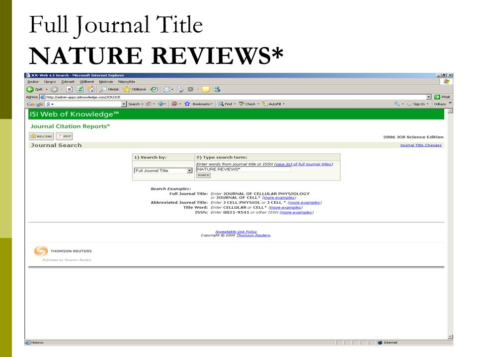 20 Full Journal Title NATURE REVIEWS*