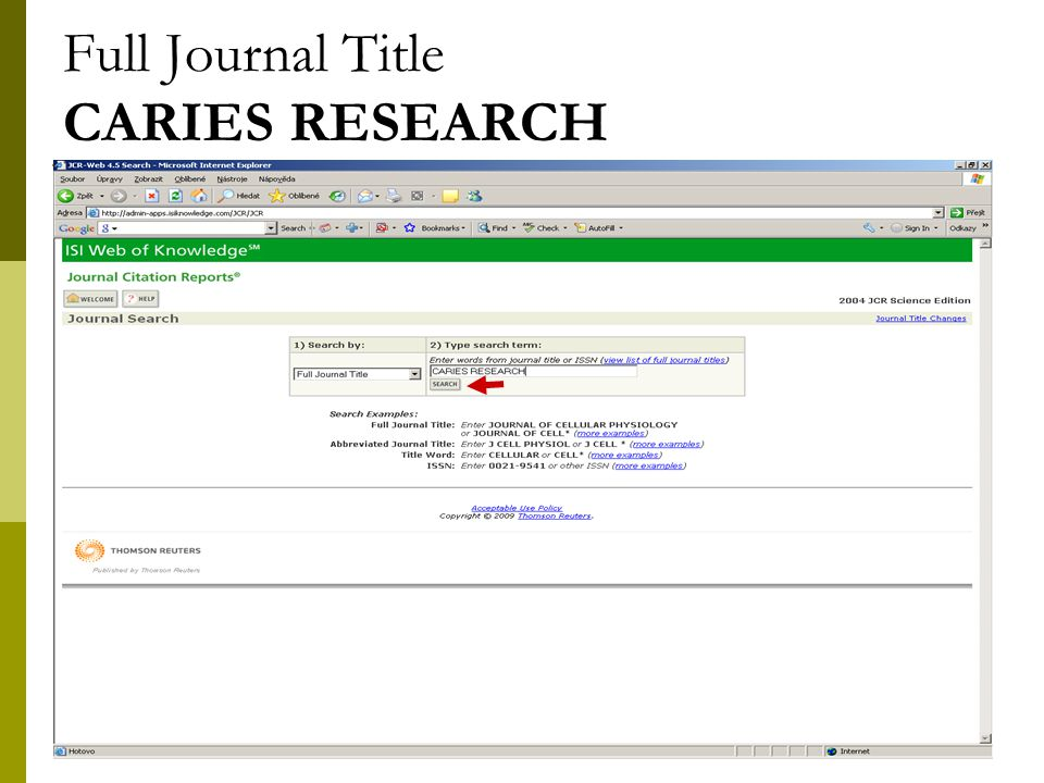 29 Full Journal Title CARIES RESEARCH