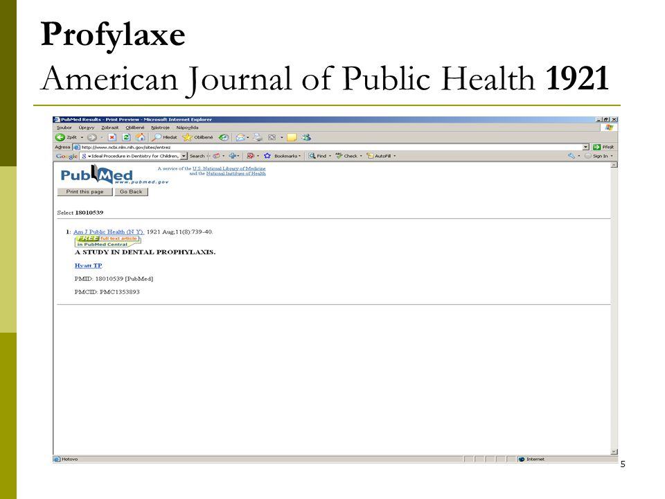 5 Profylaxe American Journal of Public Health 1921