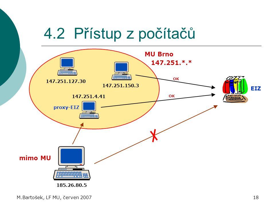 M.Bartošek, LF MU, červen 200718 4.2 Přístup z počítačů 147.251.127.30 147.251.150.3 147.251.4.41 MU Brno mimo MU 185.26.80.5 proxy-EIZ OK EIZ OK 147.251.*.*