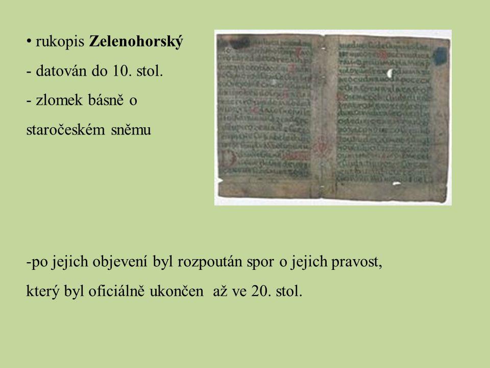 rukopis Zelenohorský - datován do 10.stol.