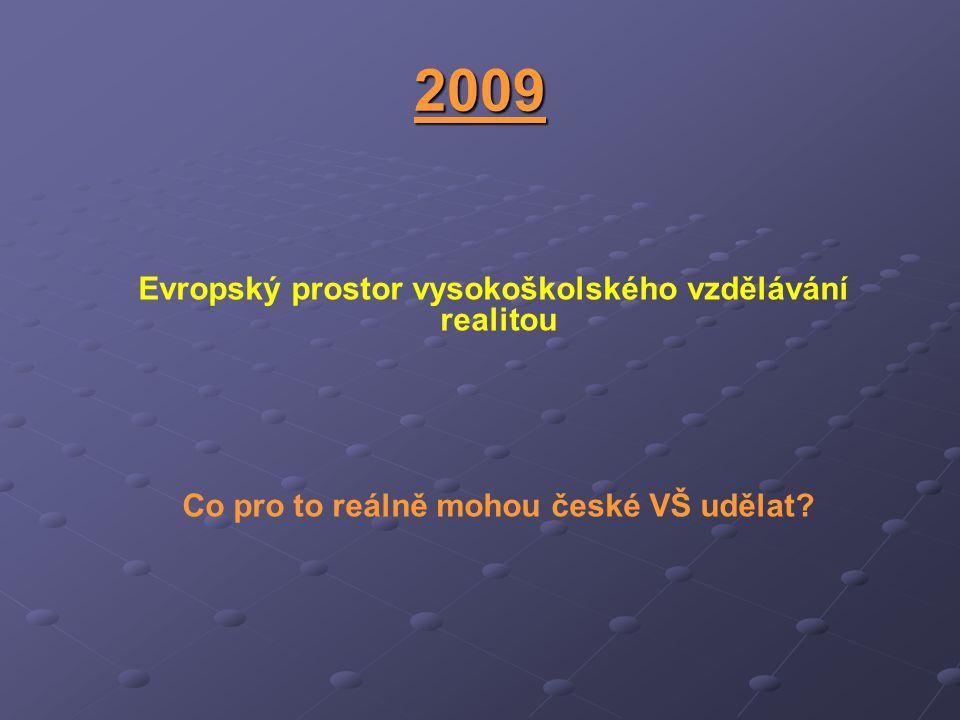 2009 Evropský prostor vysokoškolského vzdělávání realitou Co pro to reálně mohou české VŠ udělat