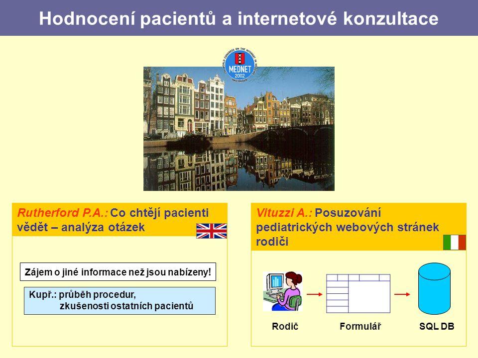Hodnocení pacientů a internetové konzultace Vituzzi A.: Posuzování pediatrických webových stránek rodiči RodičFormulářSQL DB Rutherford P.A.: Co chtějí pacienti vědět – analýza otázek Zájem o jiné informace než jsou nabízeny .