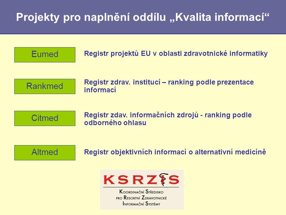 """Citmed Projekty pro naplnění oddílu """"Kvalita informací"""" Registr zdav. informačních zdrojů - ranking podle odborného ohlasu Eumed Registr projektů EU v"""