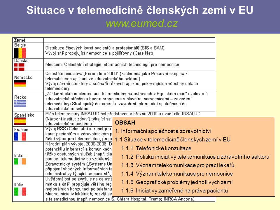 Situace v telemedicíně členských zemí v EU www.eumed.cz OBSAH 1. Informační společnost a zdravotnictví 1.1 Situace v telemedicíně členských zemí v EU