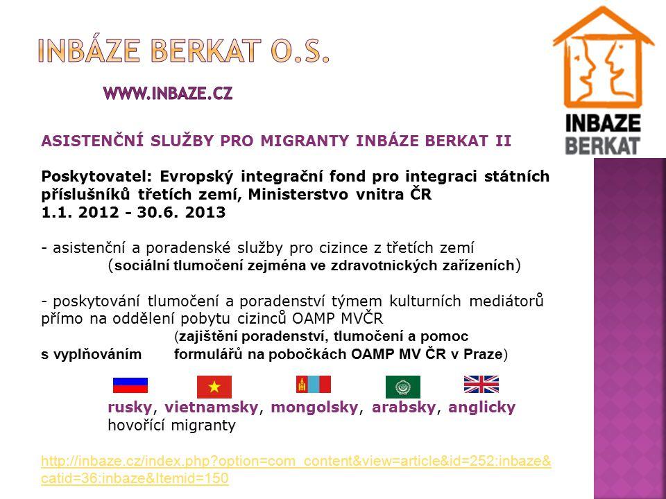 Občanské sdružení InBáze Berkat hledá od března 2012 sociální tlumočníky pro tlumočení ve zdravotnických zařízeních v rámci projektu Asistenční služby pro migranty InBáze II Evropského integračního fondu pro integraci příslušníků třetích zemí.