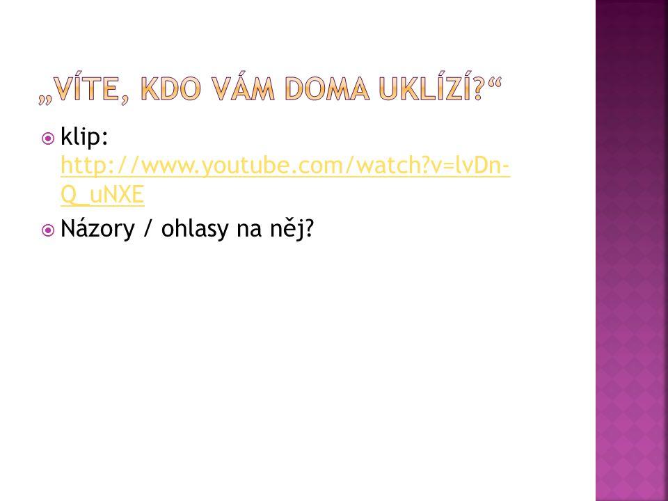  klip: http://www.youtube.com/watch?v=lvDn- Q_uNXE http://www.youtube.com/watch?v=lvDn- Q_uNXE  Názory / ohlasy na něj?