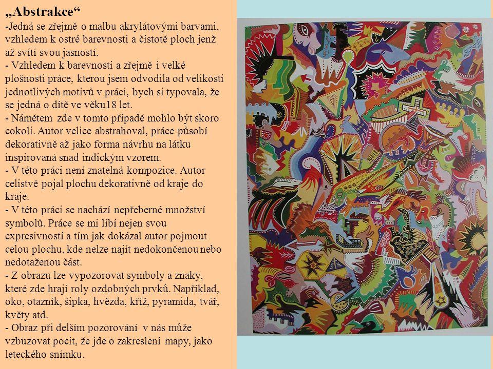 """"""" Rostlinný detail - V tomto případě se zřejmě jedná o kresbu pastelkami, možná akvarelovými."""