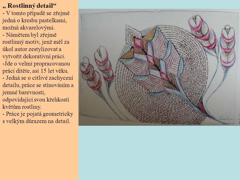 """""""Rostlinná abstrakce - V tomto případě se zřejmě jedná opět o kresbu pastelkami, v níž se autor omezil na valér jedné barvy."""