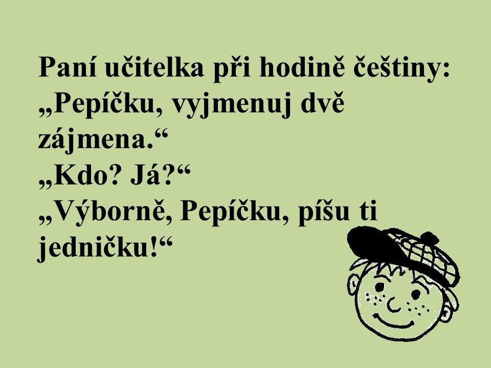 """Paní učitelka při hodině češtiny: """"Pepíčku, vyjmenuj dvě zájmena."""" """"Kdo? Já?"""" """"Výborně, Pepíčku, píšu ti jedničku!"""""""