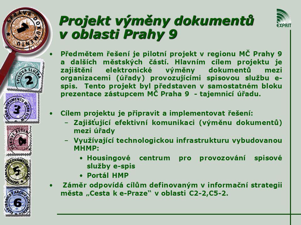 Projekt výměny dokumentů v oblasti Prahy 9 Předmětem řešení je pilotní projekt v regionu MČ Prahy 9 a dalších městských částí.