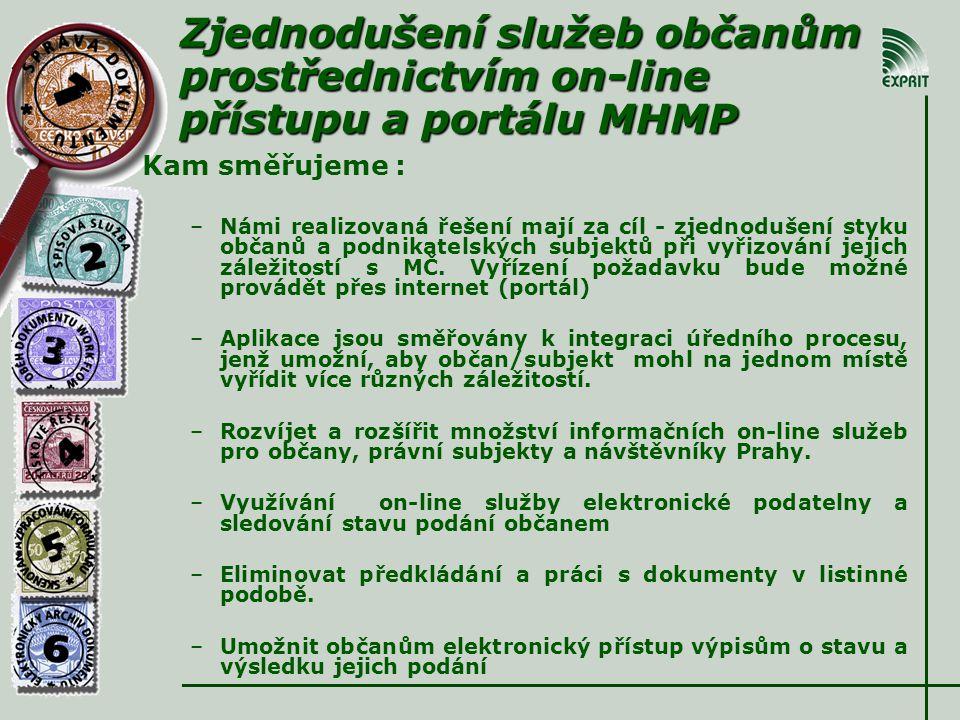 Zjednodušení služeb občanům prostřednictvím on-line přístupu a portálu MHMP Kam směřujeme : –Námi realizovaná řešení mají za cíl - zjednodušení styku občanů a podnikatelských subjektů při vyřizování jejich záležitostí s MČ.