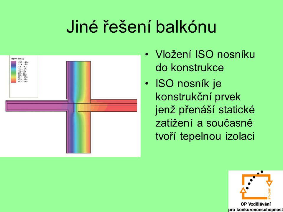 Jiné řešení balkónu Vložení ISO nosníku do konstrukce ISO nosník je konstrukční prvek jenž přenáší statické zatížení a současně tvoří tepelnou izolaci