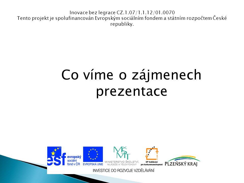 Inovace bez legrace CZ.1.07/1.1.12/01.0070 Tento projekt je spolufinancován Evropským sociálním fondem a státním rozpočtem České republiky. Co víme o