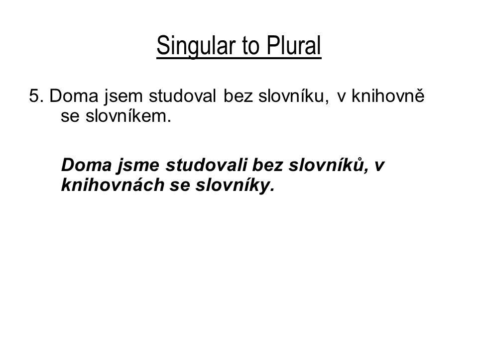 Singular to Plural 5. Doma jsem studoval bez slovníku, v knihovně se slovníkem. Doma jsme studovali bez slovníků, v knihovnách se slovníky.