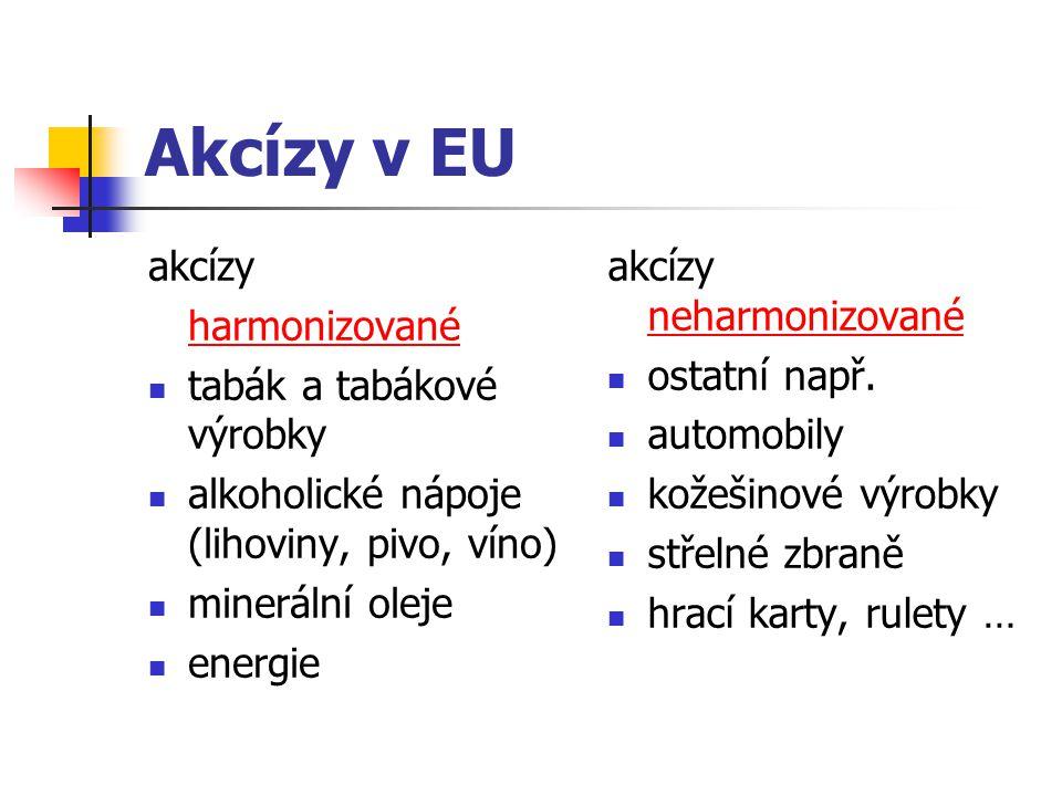 Akcízy v EU akcízy harmonizované tabák a tabákové výrobky alkoholické nápoje (lihoviny, pivo, víno) minerální oleje energie akcízy neharmonizované ost