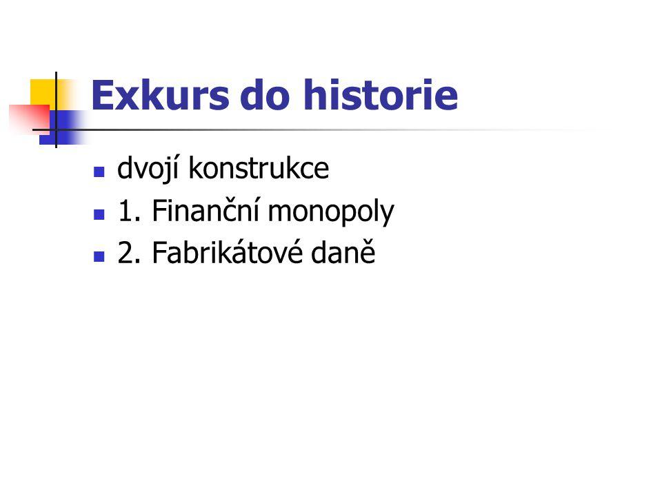 Exkurs do historie dvojí konstrukce 1. Finanční monopoly 2. Fabrikátové daně