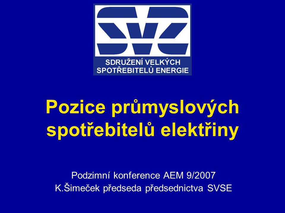 Pozice průmyslových spotřebitelů elektřiny Podzimní konference AEM 9/2007 K.Šimeček předseda předsednictva SVSE