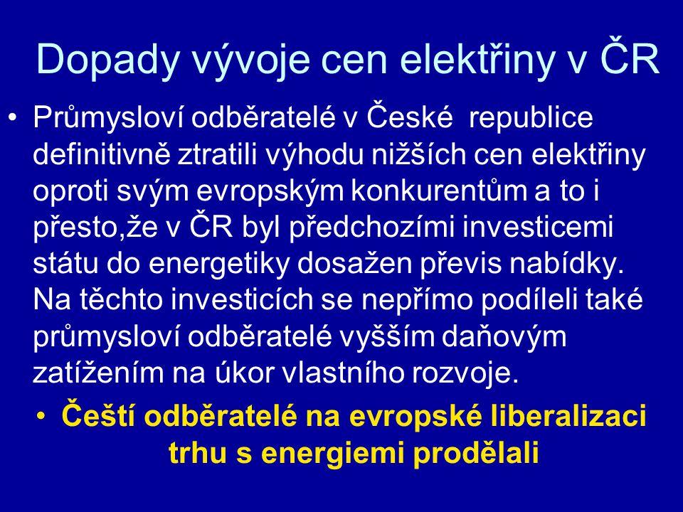 Dopady vývoje cen elektřiny v ČR Průmysloví odběratelé v České republice definitivně ztratili výhodu nižších cen elektřiny oproti svým evropským konkurentům a to i přesto,že v ČR byl předchozími investicemi státu do energetiky dosažen převis nabídky.