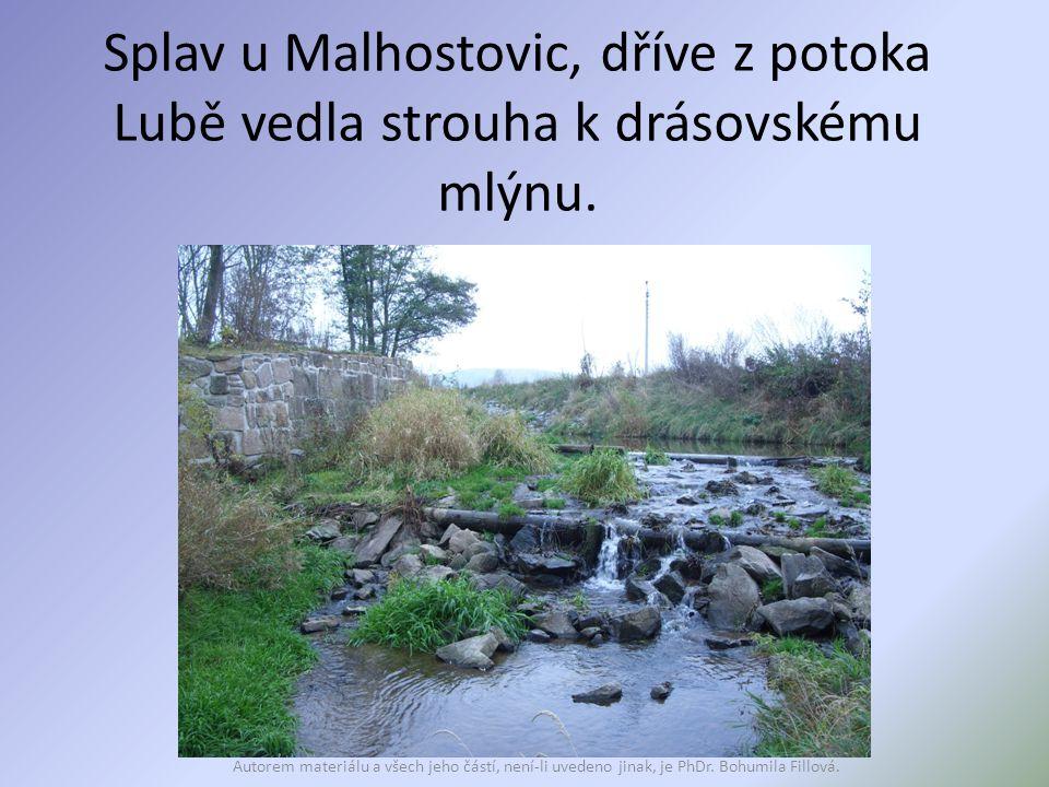 Splav u Malhostovic, dříve z potoka Lubě vedla strouha k drásovskému mlýnu.