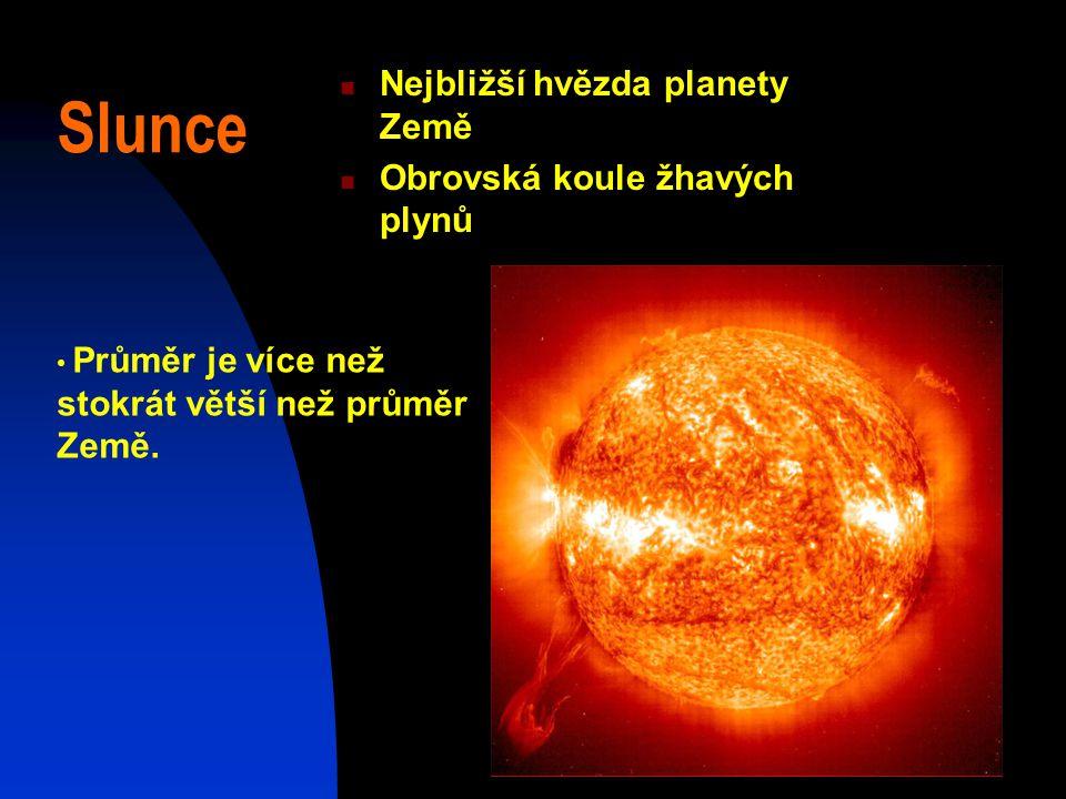 Slunce Nejbližší hvězda planety Země Obrovská koule žhavých plynů Průměr je více než stokrát větší než průměr Země.