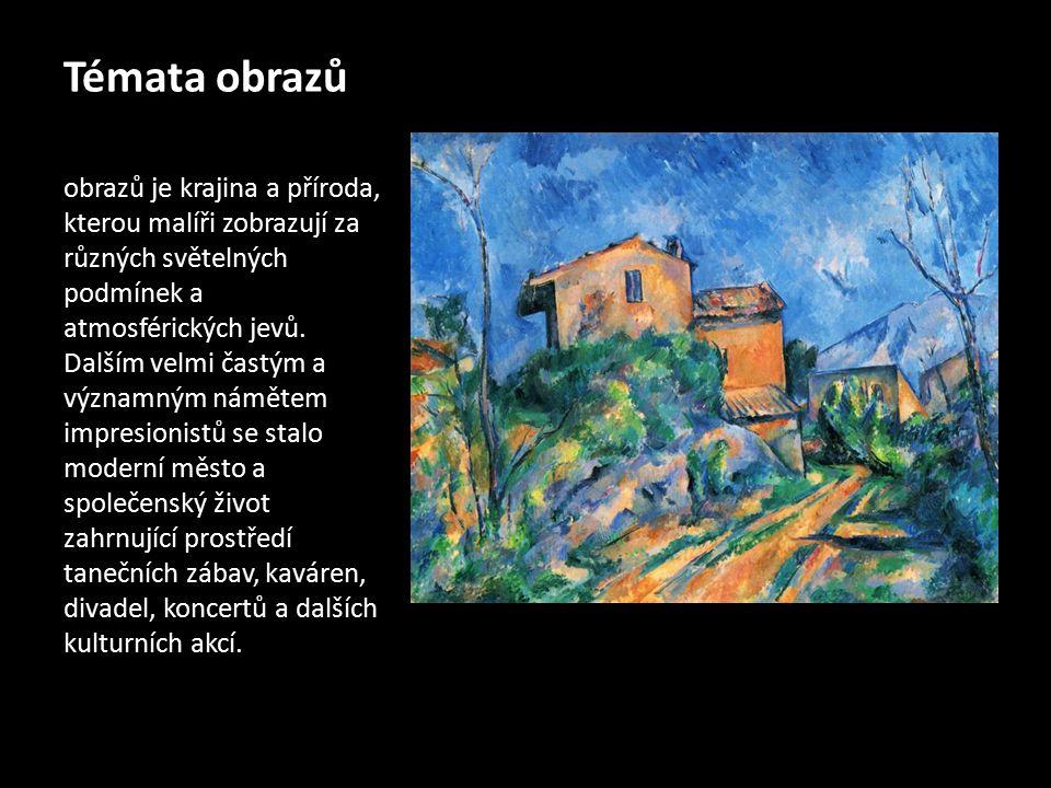 Témata obrazů obrazů je krajina a příroda, kterou malíři zobrazují za různých světelných podmínek a atmosférických jevů. Dalším velmi častým a významn