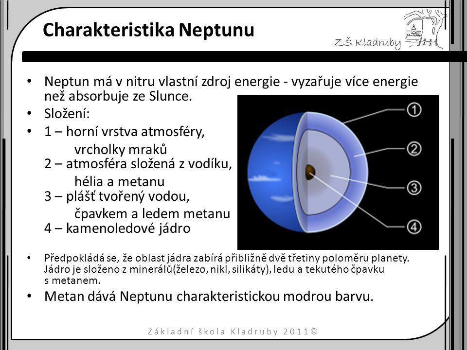 Základní škola Kladruby 2011  Atmosféra Atmosféra Neptunu má zelenomodrou barvu, zabírá nejspíše 5 až 10 % celkové hmotnosti planety a rozkládá se do hloubky 10 až 20 % planetárního poloměru.