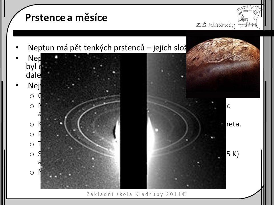 Základní škola Kladruby 2011  Základní data hmotnost1×10 26 kg Rovníkoví poloměr24 746 km hustota1770 kg m −3 povrchová teplota – 213°C doba otočení kolem osy16 h 7 min doba oběhu kolem Slunce165 let průměrná vzdálenost od Slunce4,5 miliard km magnetické pole na rovníku14 μT Sklon rotační osy 28,31° počet měsíců13