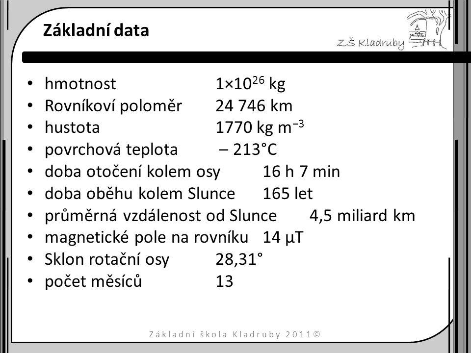 Základní škola Kladruby 2011  Základní data hmotnost1×10 26 kg Rovníkoví poloměr24 746 km hustota1770 kg m −3 povrchová teplota – 213°C doba otočení