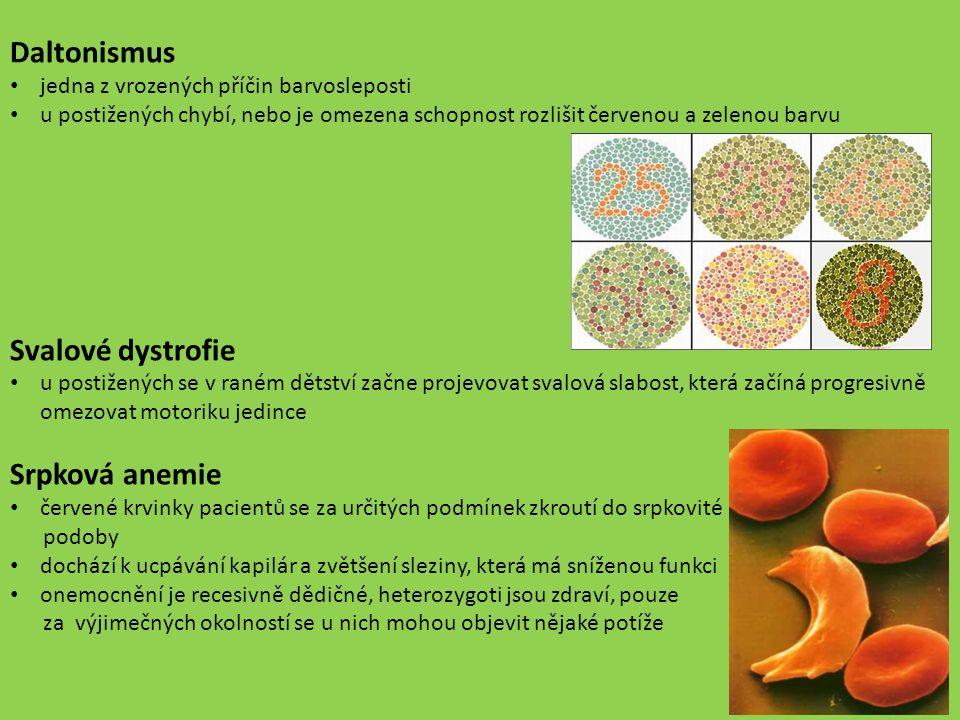 Daltonismus jedna z vrozených příčin barvosleposti u postižených chybí, nebo je omezena schopnost rozlišit červenou a zelenou barvu Svalové dystrofie
