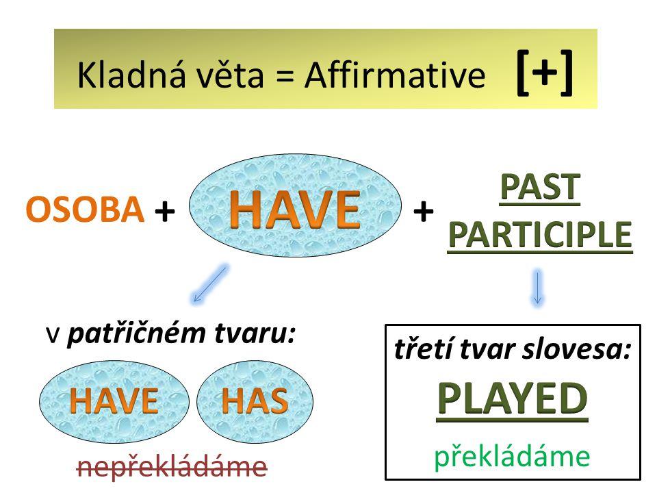 + OSOBA v patřičném tvaru: nepřekládáme + Kladná věta = Affirmative [+]