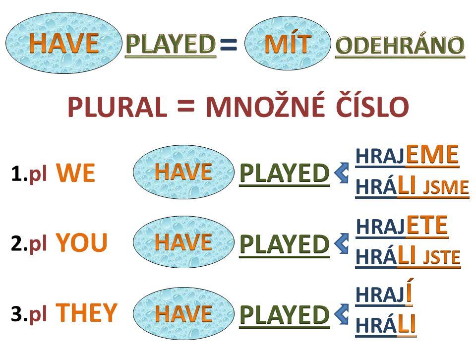Past Participle - examples BROKEN PLAYED WRITTEN SWUM ODPLAVÁ N (O) ODEHRÁ N (O) NAPSÁ N (O) BOUGHT KOUPE N (O) ZLOME N (O) / ROZBI T (O)