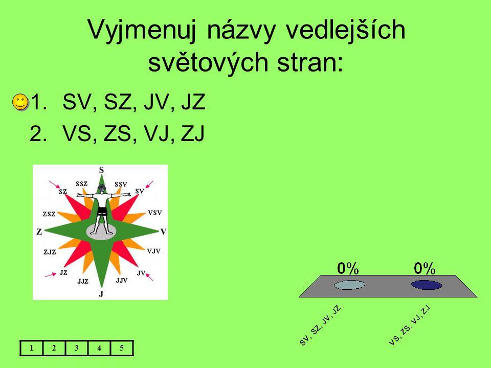 Vyjmenuj názvy vedlejších světových stran: 12345 1.SV, SZ, JV, JZ 2.VS, ZS, VJ, ZJ