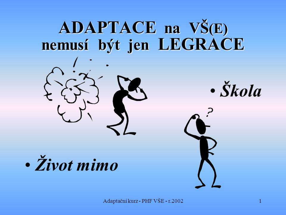 Adaptační kurz - PHF VŠE - r.20021 ADAPTACE na VŠ (E) nemusí být jen LEGRACE Škola Život mimo