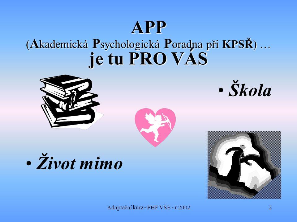 Adaptační kurz - PHF VŠE - r.20022 APP ( A kademická P sychologická P oradna při KPSŘ) … je tu PRO VÁS Škola Život mimo