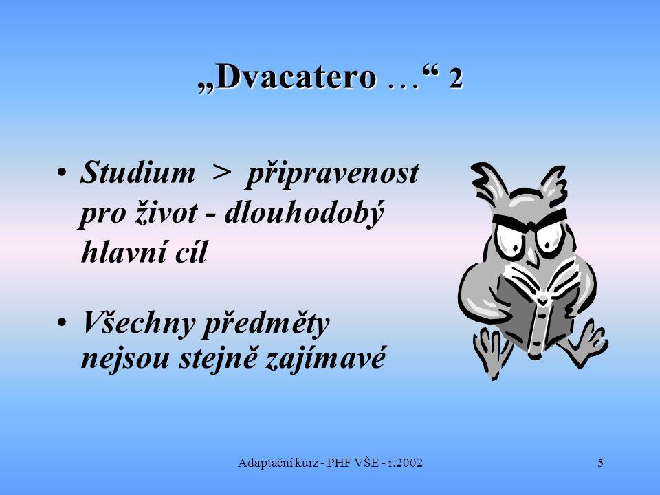 """Adaptační kurz - PHF VŠE - r.20026 """"Dvacatero … 3 Umění zvládnout samostatnost.."""