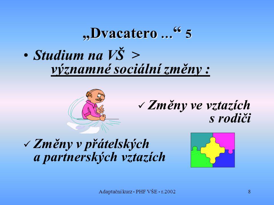 """Adaptační kurz - PHF VŠE - r.20028 """"Dvacatero … 5 Studium na VŠ > významné sociální změny : Změny ve vztazích s rodiči Změny v přátelských a partnerských vztazích"""