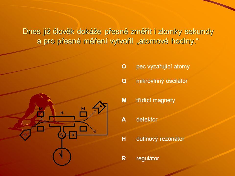 """Dnes již člověk dokáže přesně změřit i zlomky sekundy a pro přesné měření vytvořil """"atomové hodiny."""" Opec vyzařující atomy Qmikrovlnný oscilátor Mtříd"""