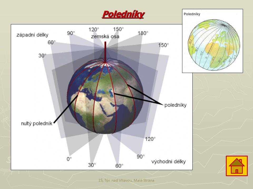 Rovnoběžky ► Rovnoběžky jsou čáry, které jsou rovnoběžné s rovníkem a pomocí nich určujeme tzv.